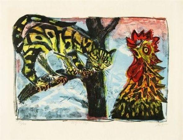 Otto Dix, Katze und Hahn/ Cat and Rooster