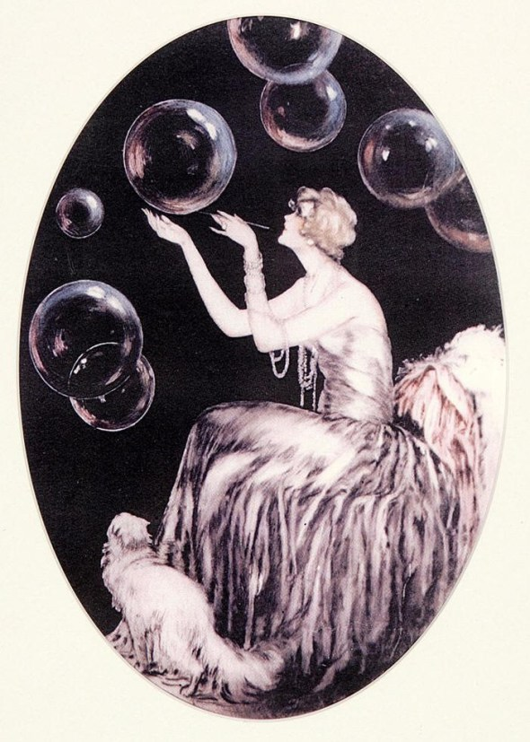 Blowing Bubbles with Persian Cat, Louis Icart