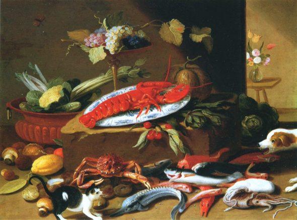 Fighting Cat and Dog with Still Life, Jan van Kessel, the Elder
