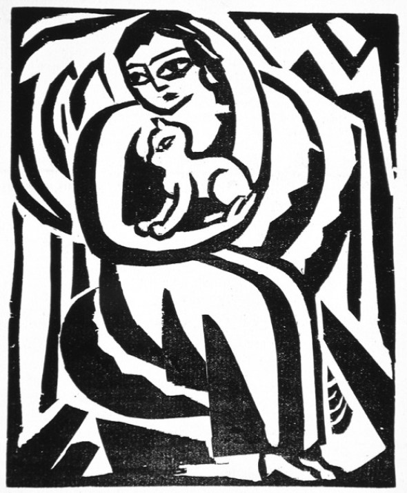 Georg Schrimpf, Woman and Cat