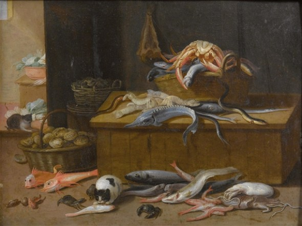 Jan van Kessel, the Elder, Still life with marine creatures and cats