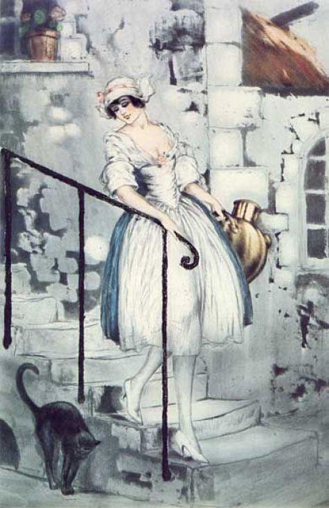 Milkmaid 1928, Louis Icart