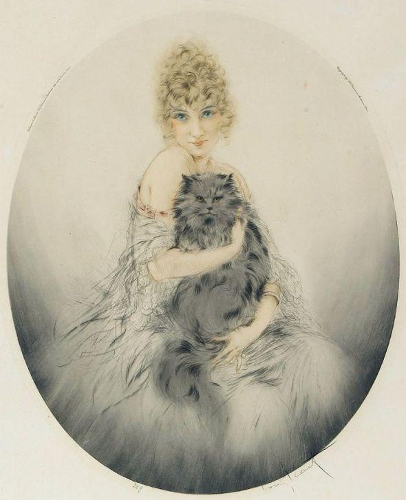 Persian Cat, 1923, Louis Icart