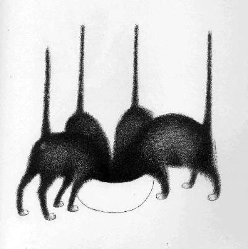Albert Dubout, Cats Drinking Milk