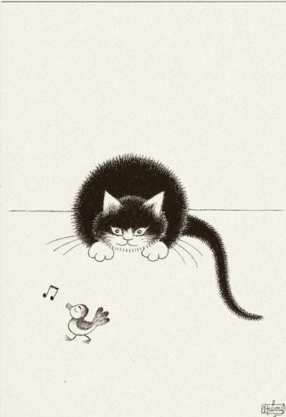 Albert Dubout, Cat Stalking a Bird