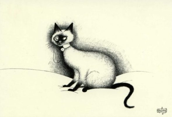 Albert Dubout, Cat and Monocle