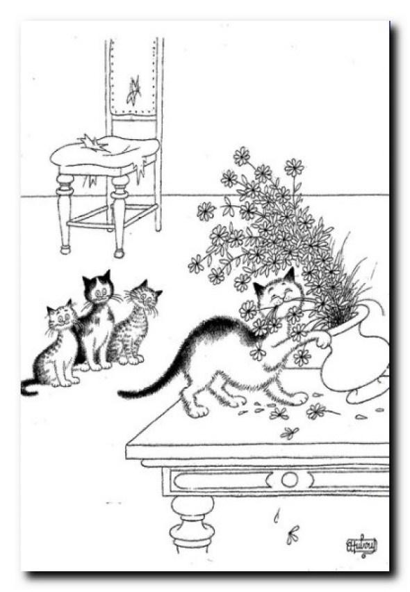 Albert Dubout, Cat Eating Flowers