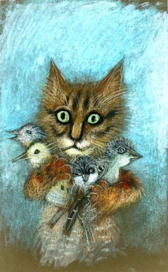 Cat with Birds, Jozef Wilkon