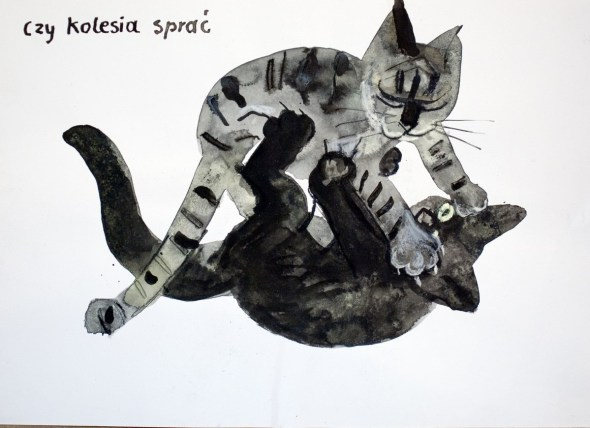 Józef Wilkoń, Cats Playing, Jozef Wilkon