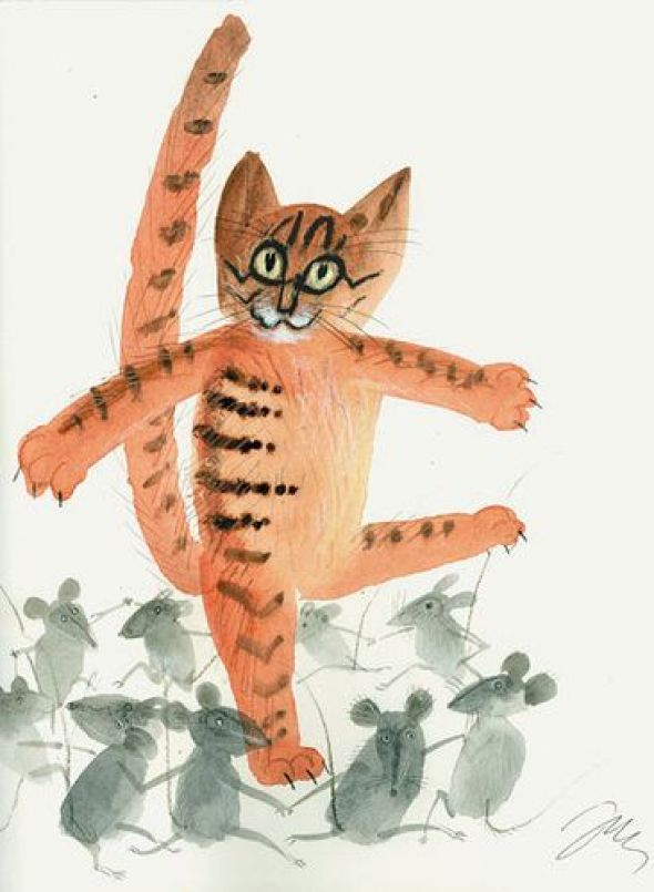 Orange Cat and Mice, Jozef Wilkon