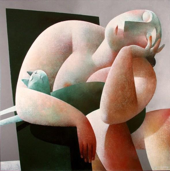 Woman with Fat Cat, Peter Harskamp