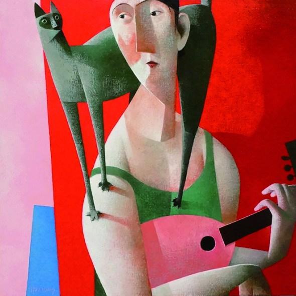 Man with Green Cat and Mandolin, Peter Harskamp