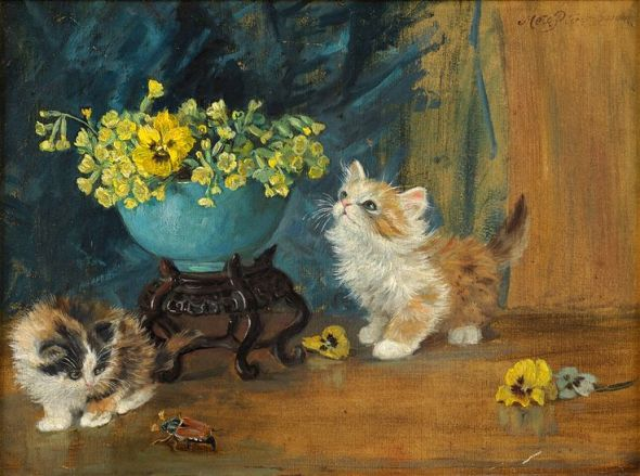 Meta Pluckebaum, Kittens Smelling the Pansies