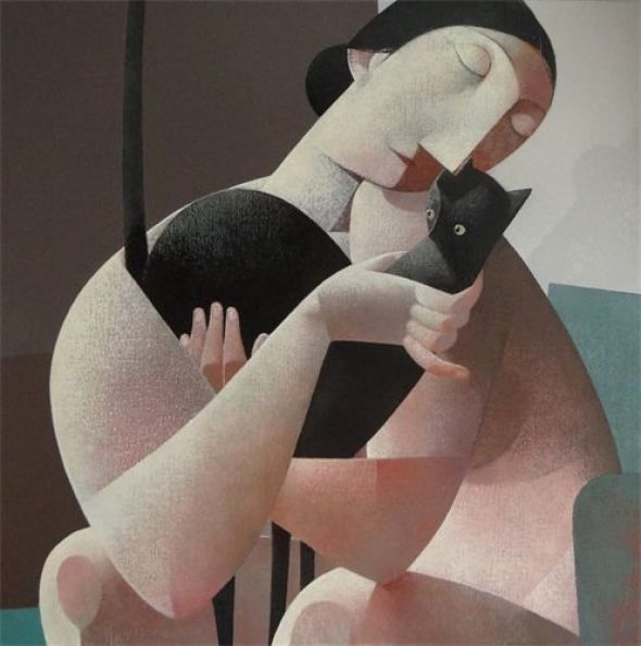 Woman and Black Cat, Peter Harskamp