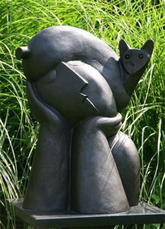 Cat and Woman Statue, Peter Harskamp