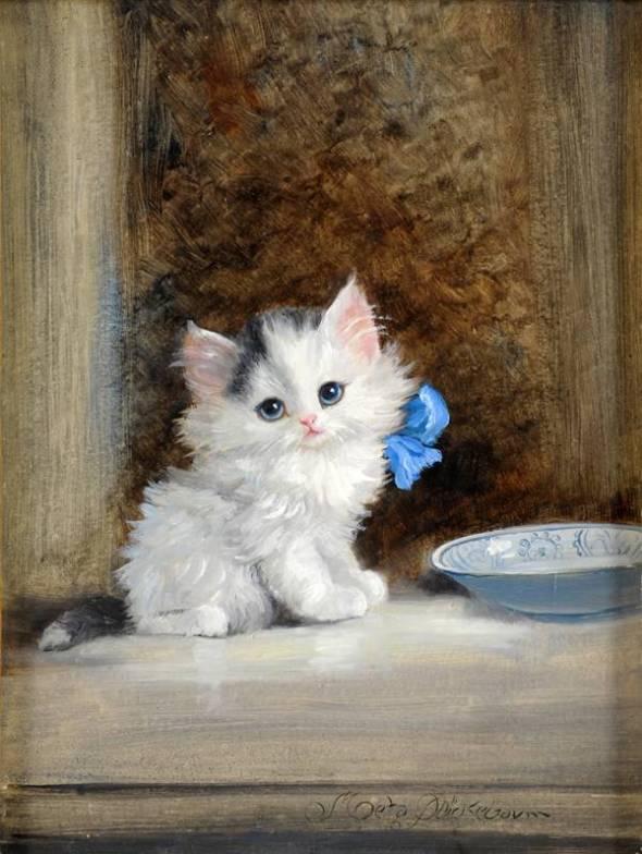 Kitten with Blue Ribbon, Meta Pluckebaum