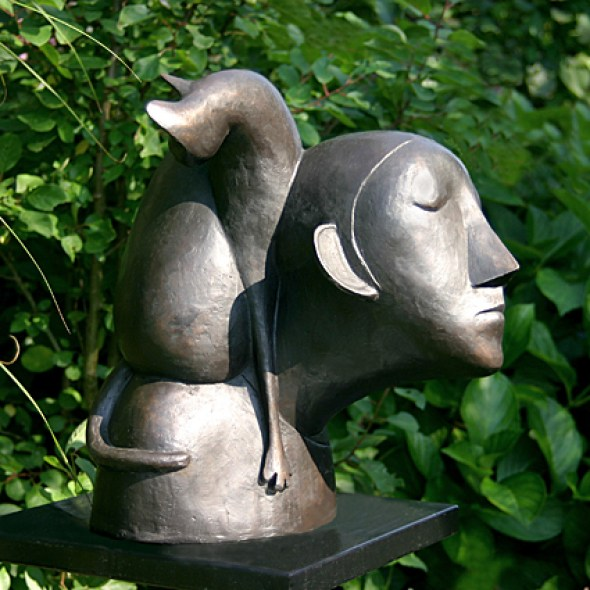 Woman and Cat Sculpture, Statue, Peter Harskamp