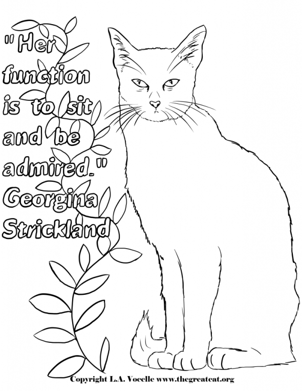 Cat Quotes coloring page, L.A. Vocelle, free coloring pages, coloring pages, coloring