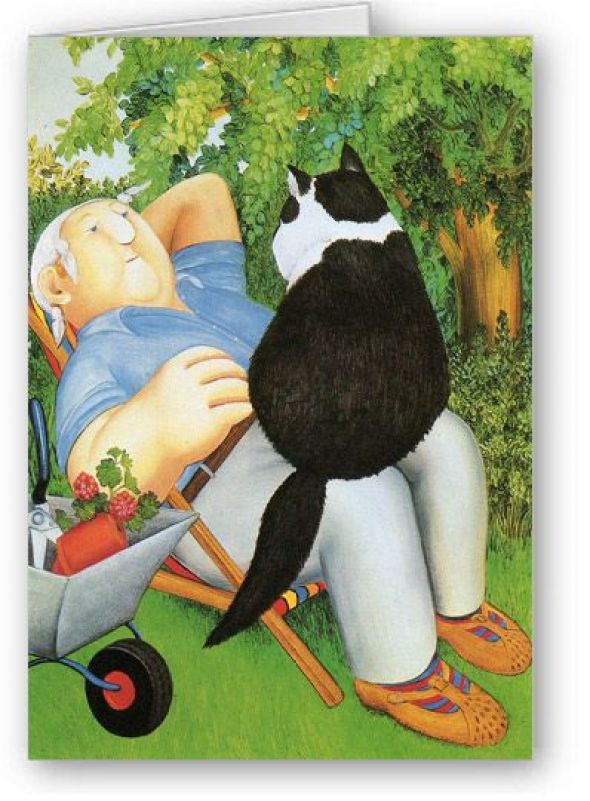 Beryl Cook, Resting in the Garden with Black and White Cat