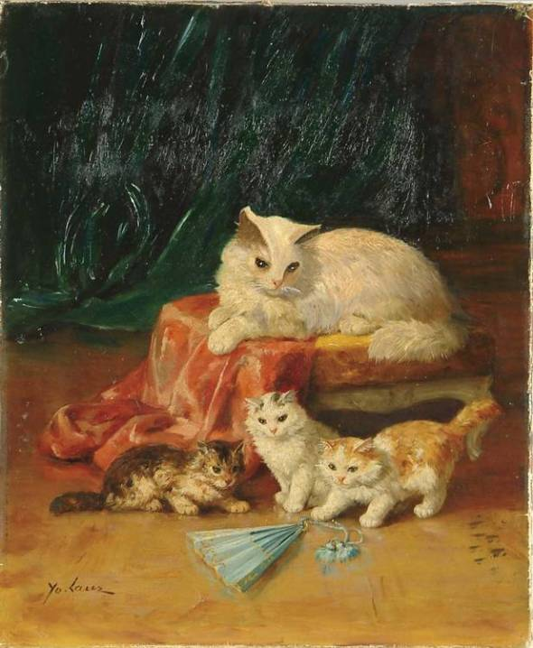 Mother and Kittens with a Fan, Marie Yvonne Laur, Yo Laur