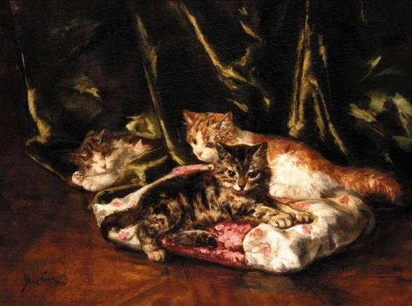 Three Kittens Relaxing, Marie Yvonne Laur, Yo Laur