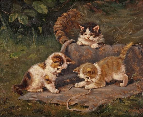 Benno Kogl, Three Kittens Playing