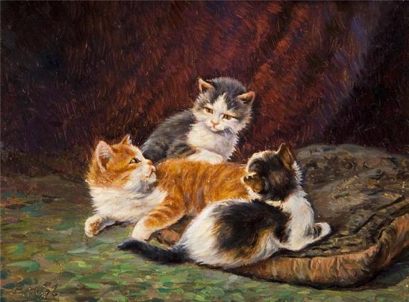 Three Kittens on a Cushion, Benno Kogl