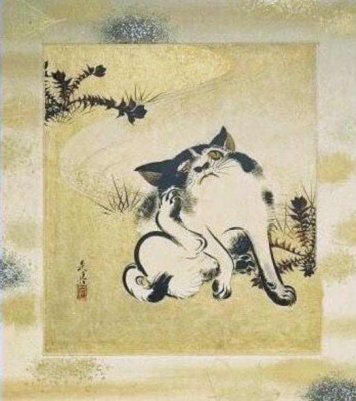 Cat Scratching its Ear. Shibata Zeshin