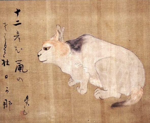 Cat, Shibata Zeshin (1807-91) Japanese Hanging Scroll Ink and colors on silk British Museum