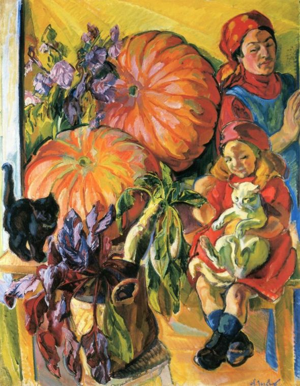 Madame Tarkhoff, Her Daughter, Pumpkin and Two Cats, Nicholas Tarkhoff