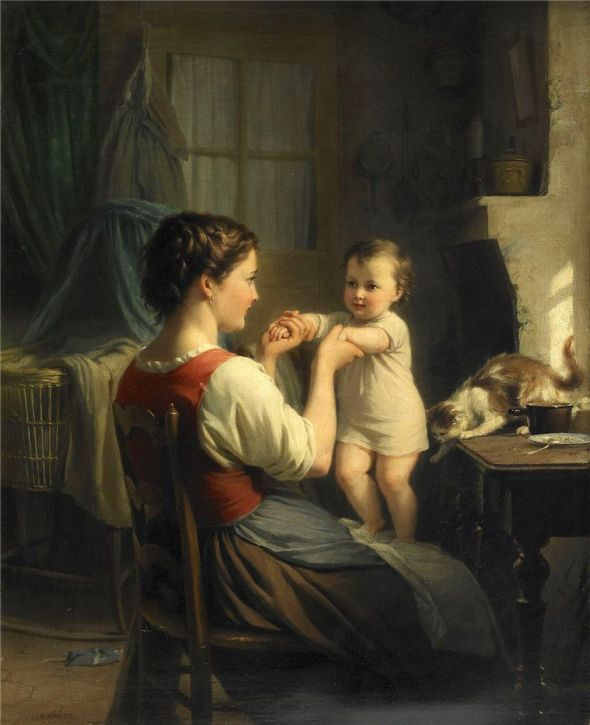 Mother and Child with Cat, Fritz Zuber-Buhler