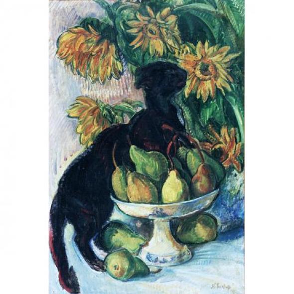 Nicholas Tarkhoff, Black Cat, Fruit, and Flowers