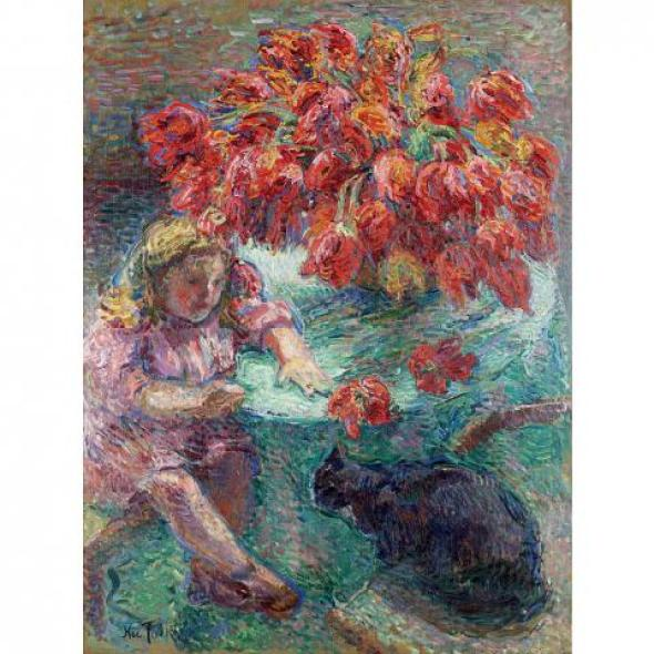 Nicholas Tarkhoff, Child, Black Cat and Flowers