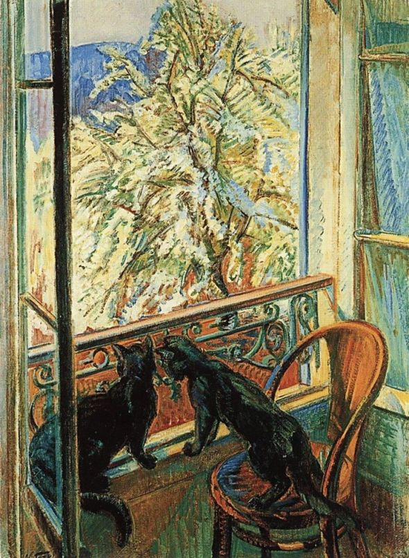 Nicholas Tarkhoff, Two Black Cats Looking out the Window