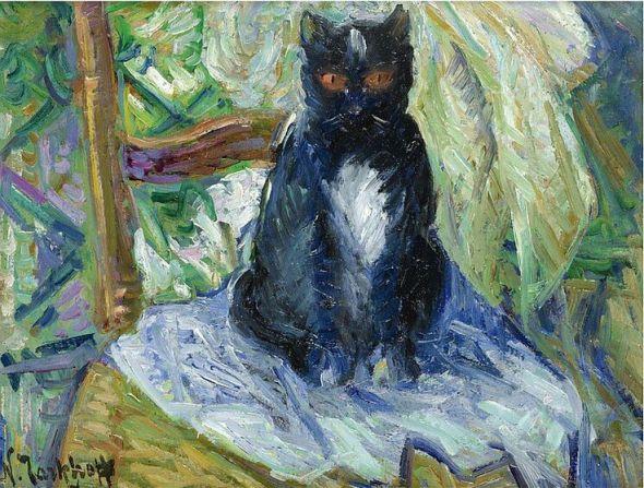 Nicolas Tarkhoff (Russia, 1871-1930). Black cat