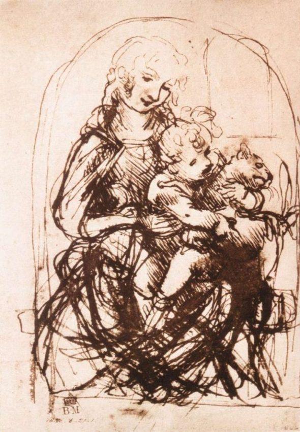 Leonardo da Vinci, Study of the Madonna and Child with a Cat 1478