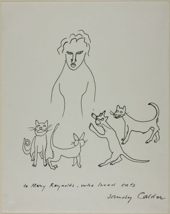 Alexander Calder American, 1898-1976 - To Mary Reynolds Who Loved Cats, 1955 (Pen and black ink on white wove paper)