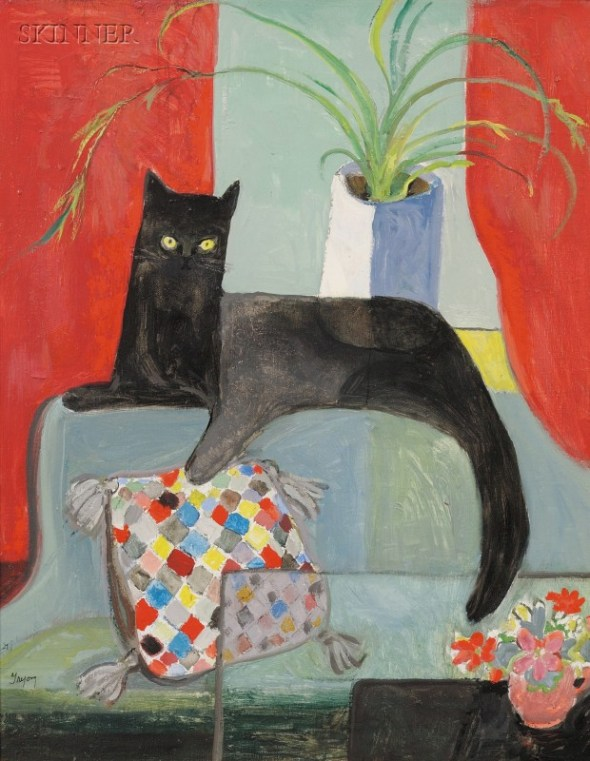 Black Cat on a Couch, Dorothy Lake Gregory Moffett