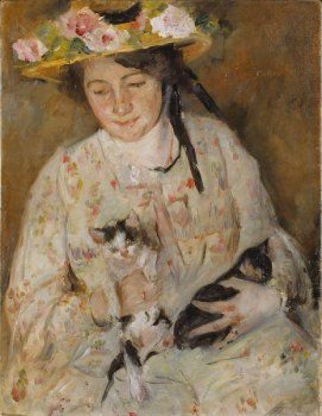 Lovis Corinth, 1858 -1925 Junge Frau mit Katzen