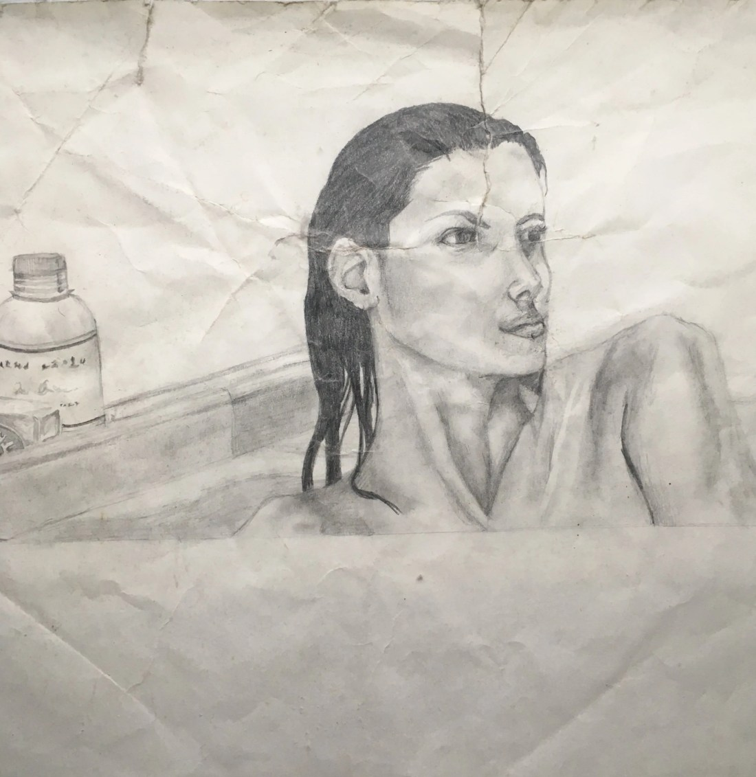 Pencil Drawing Woman in the Bath