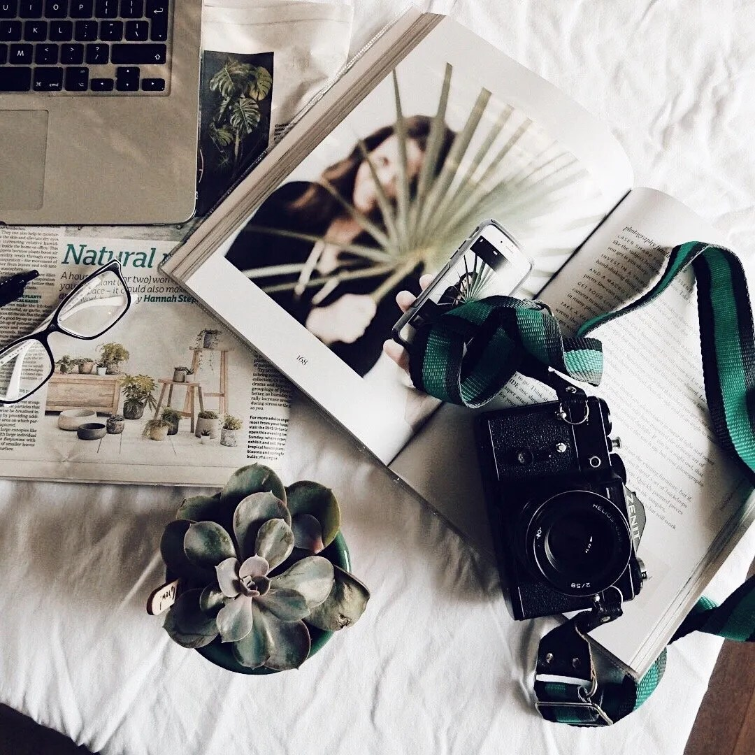 Zenit camera with book, plant and newspaper