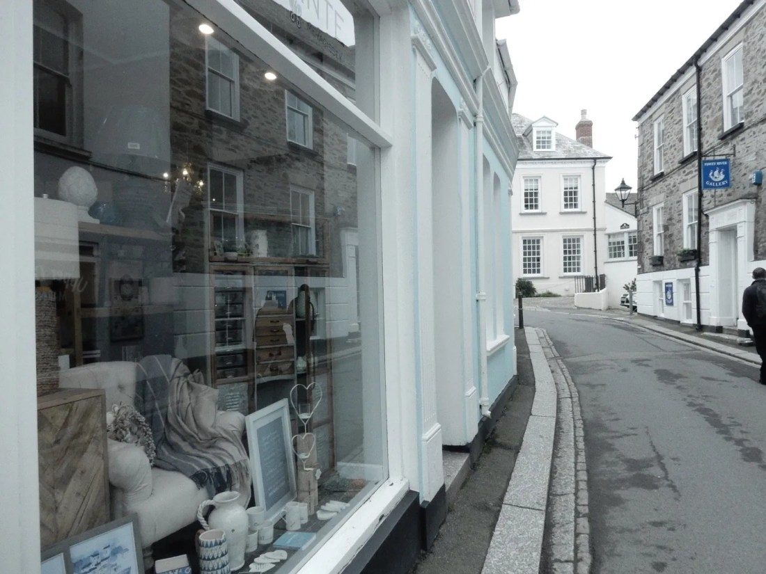 Shop front with furniture in the window street view