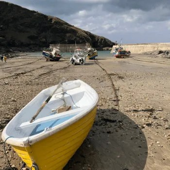 Yellow rowing boat on the shore in a harbour