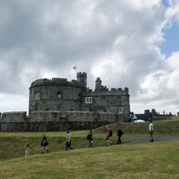 Pendennis Castle with People Walking