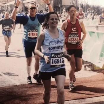 Woman running the London Marathon