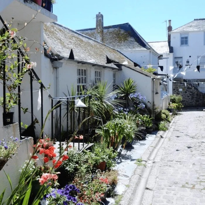 A row of houses in St Ives with flowers outside