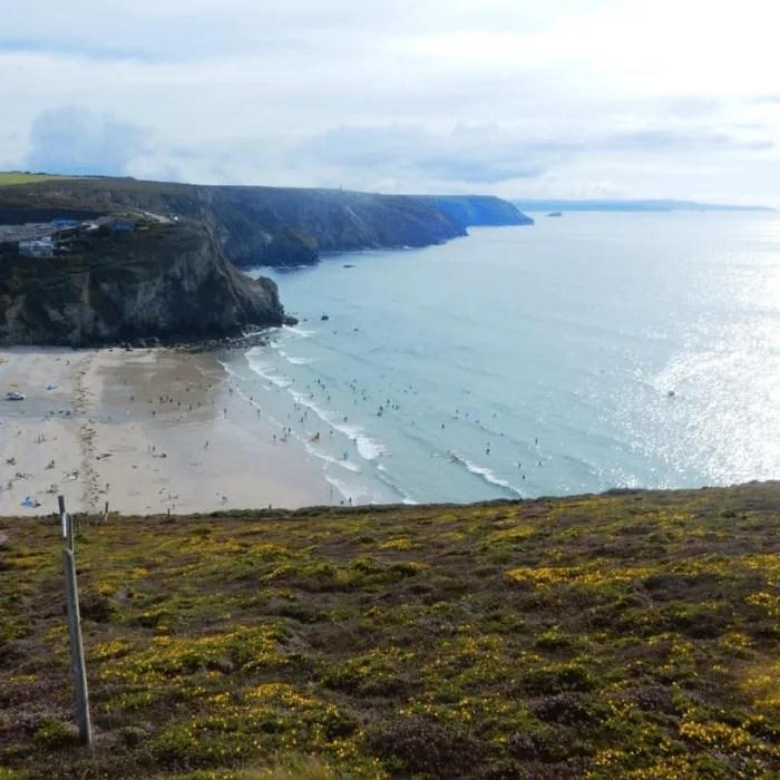 Porthtowan Beach from the South West Coastpath
