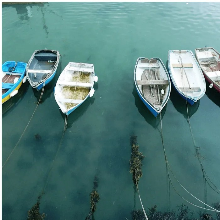 a row of fishing boats