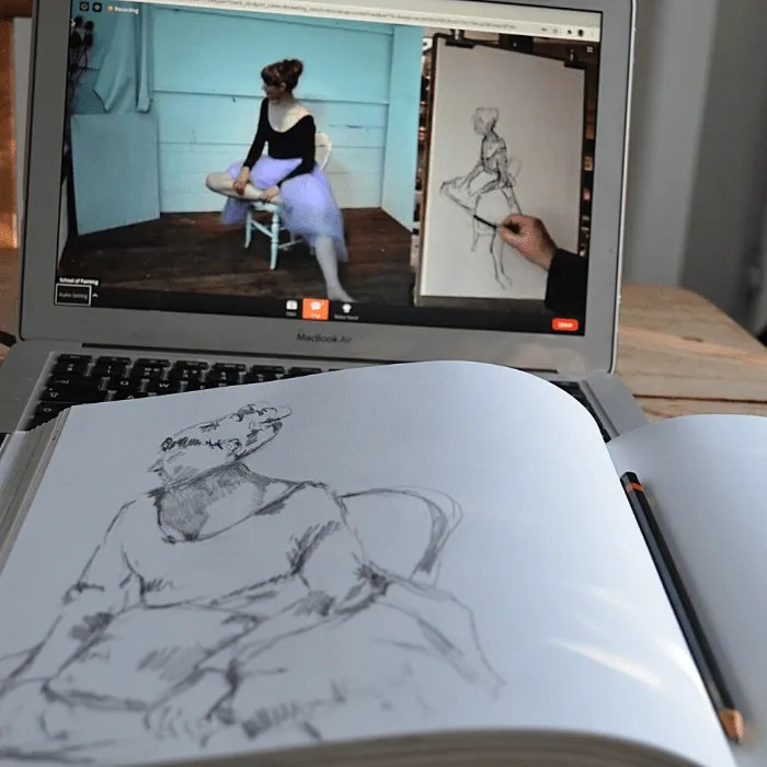 An online life drawing lesson with St Ives School of Painting