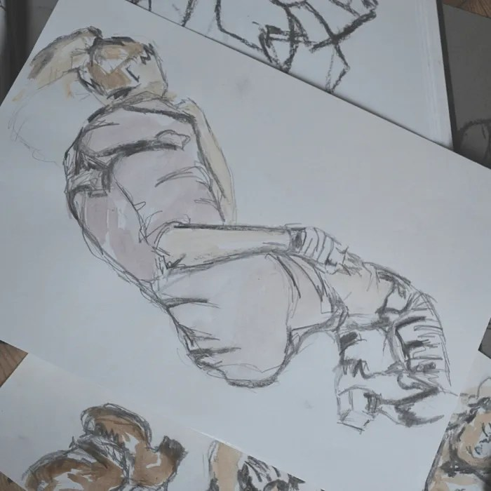 life drawing sketch in the style of Shiele